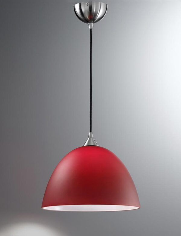 Contemporary 1 Light Large Ceiling Pendant Satin Nickel Red Glass