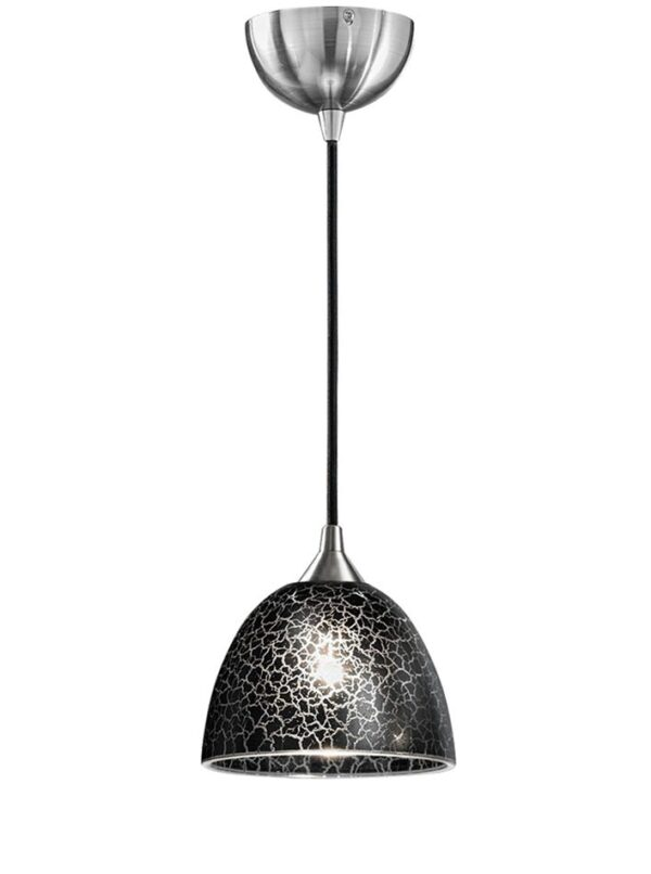 Contemporary 1 Light Small Ceiling Pendant Satin Nickel Black Crackle Glass