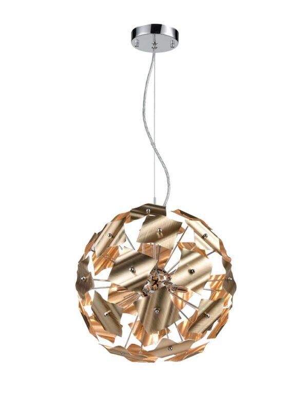 Modern 5 Light 36cm Globe Ceiling Pendant Chrome / Brushed Gold