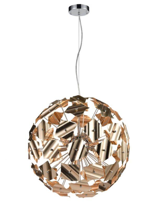 Modern 9 Light 52cm Globe Ceiling Pendant Chrome / Brushed Gold