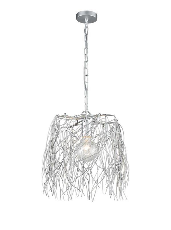 Large 1 Light Intertwined Twigs Pendant Ceiling Light Silver Finish