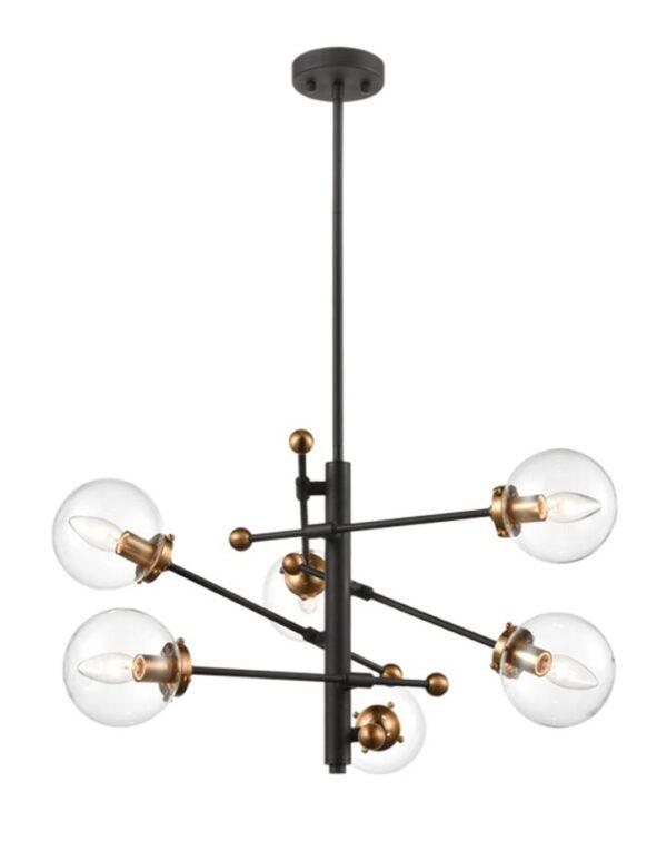 Modern 6 Light Ceiling Pendant Black / Antique Gold Clear Glass Globes