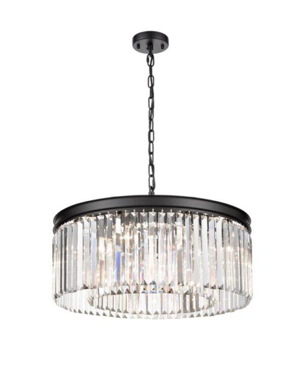 Classic Quality 8 Light Medium Crystal Pendant Ceiling Light Matt Black