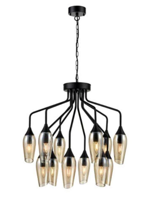Contemporary 12 Light Chandelier Matt Black Amber Glass Taper Shades