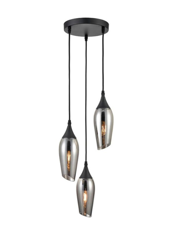 Contemporary 3 Light Ceiling Pendant Black Smoked Glass Taper Shades