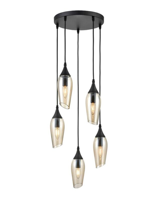 Contemporary 5 Light Ceiling Pendant Black Amber Glass Taper Shades