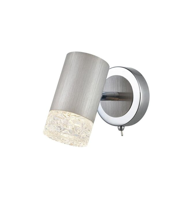 Contemporary Switched 1 Lamp Adjustable Single Wall Light Satin Nickel