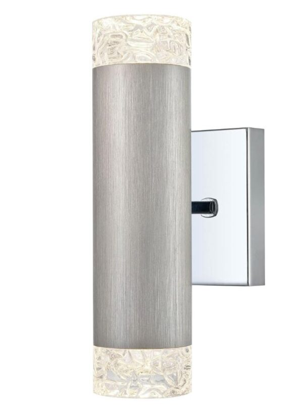 Contemporary 2 Lamp Twin Up & Down Wall Washer Light Satin Nickel