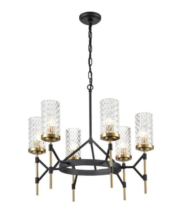 Black & Gold Ironwork 6 Light Chandelier Textured Glass Shades