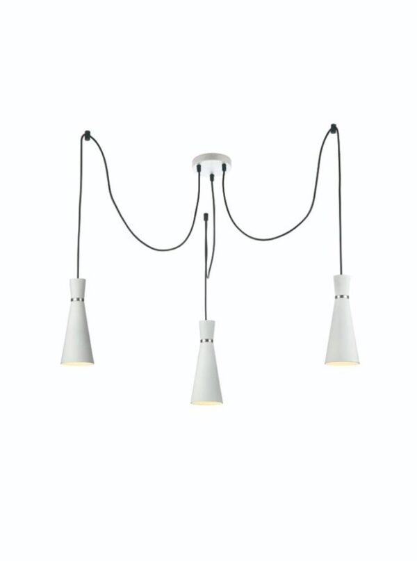 Classic 3 Light Cluster Ceiling Pendant Satin White Cone Shades