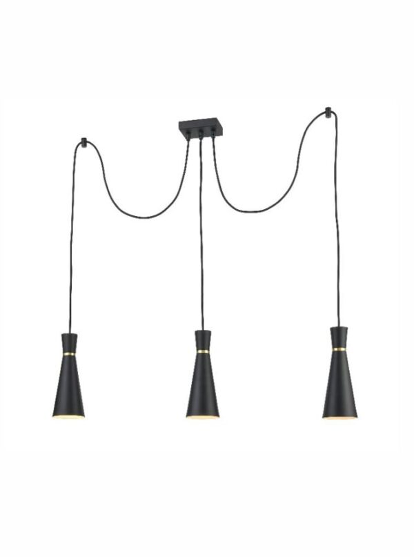 Classic 3 Light Cluster Ceiling Pendant Satin Black Cone Shades