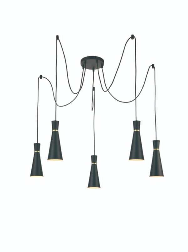 Classic 5 Light Cluster Ceiling Pendant Satin Black Cone Shades