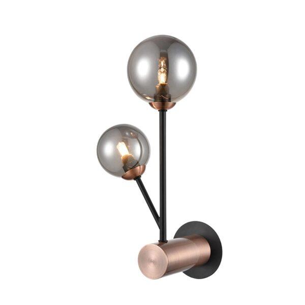 Modern Industrial 2 Lamp Wall Light Matt Black & Copper Smoked Glass