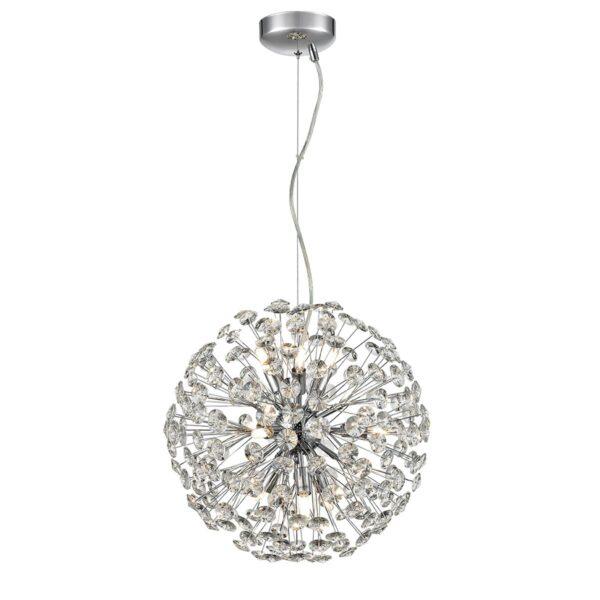 Modern 9 Light Medium 40cm Crystal Sphere Pendant Polished Chrome