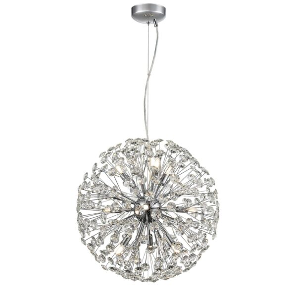 Modern 9 Light Large 50cm Crystal Sphere Pendant Polished Chrome