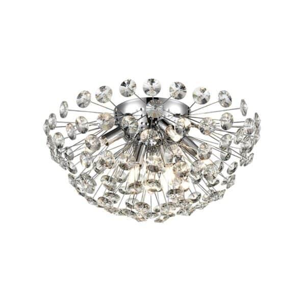 Modern 7 Light Medium 40cm Flush Crystal Ceiling Light Polished Chrome