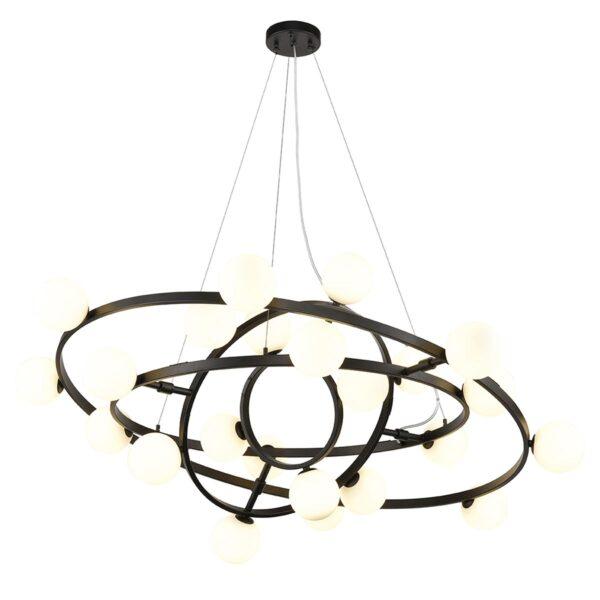 Large Adjustable Rings 24 Light Ceiling Pendant Matt Black Opal Glass