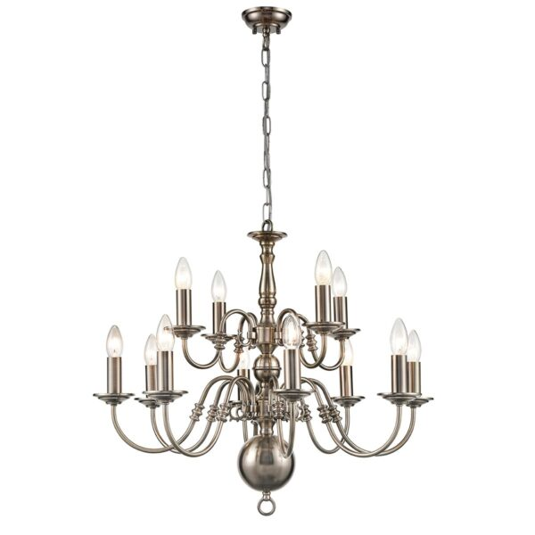 Classic Flemish Style 12 Light 2-Tier Traditional Chandelier Pewter