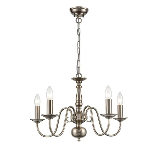 Classic Flemish Style 5 Light Traditional Chandelier Pewter Finish