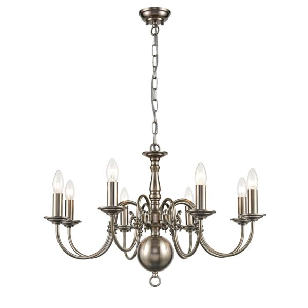 Classic Flemish Style 8 Light Traditional Chandelier Pewter Finish