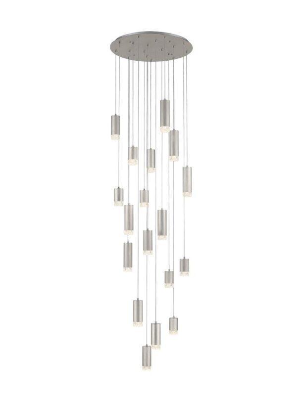 Contemporary 18 Light Large Multi Level Ceiling Pendant Satin Nickel