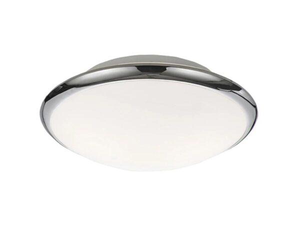 Classic Small 2 Lamp Flush Bathroom Ceiling Light Opal Glass Chrome