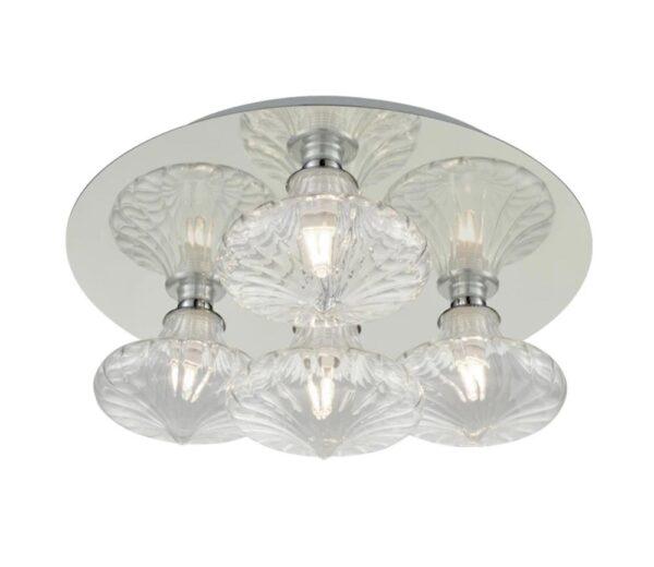 Flush Bathroom Ceiling 4 Light Polished Chrome Clear Glass Shades IP44