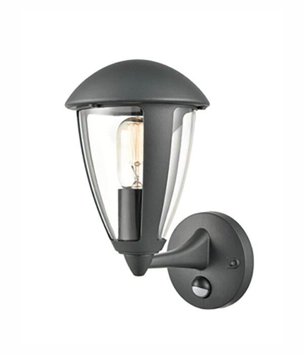 Modern 1 Light Exterior PIR Wall Lantern Charcoal Clear Shade IP54