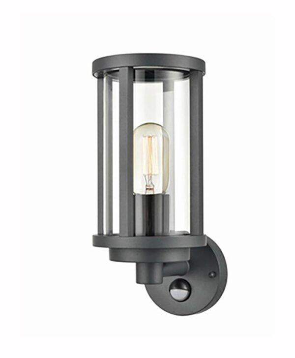 Modern 1 Light Outdoor PIR Wall Lantern Charcoal Clear Glass IP54