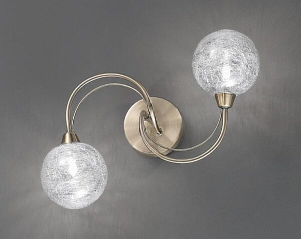 Franklite FL2328/2 Gyro 2 light twin wall light in bronze finish with clear glass spheres