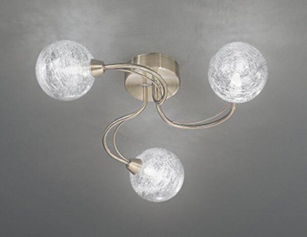 Franklite Gyro 3 Light Semi Flush Ceiling Light Bronze Finish Spun Glass