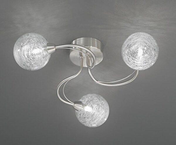 Franklite FL2327/3 Gyro 3 light semi flush mount ceiling light in satin nickel