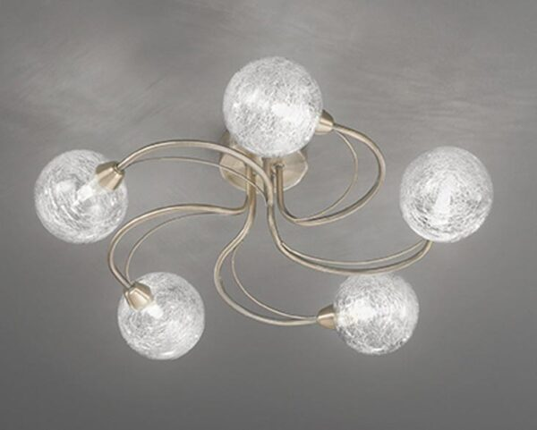 Franklite Gyro 5 Light Semi Flush Ceiling Light Bronze Finish Spun Glass