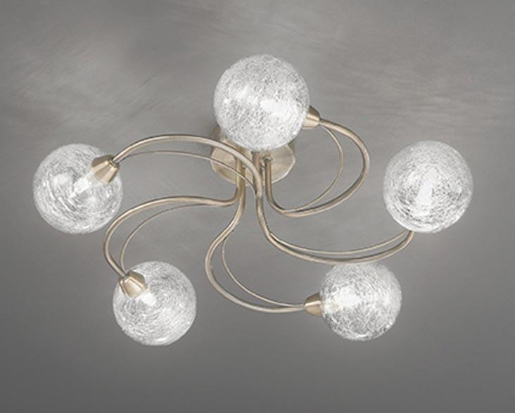 Contemporary 5 Arm Semi Flush Ceiling Light Bronze Spun Glass Globes