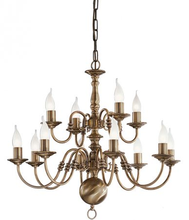 Franklite Halle 12 Light 2-Tier Chandelier Bronzed Solid Brass