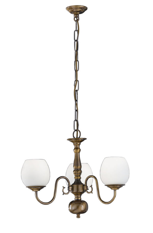 Franklite PE7933 Halle 3 light traditional chandelier in bronzed solid brass