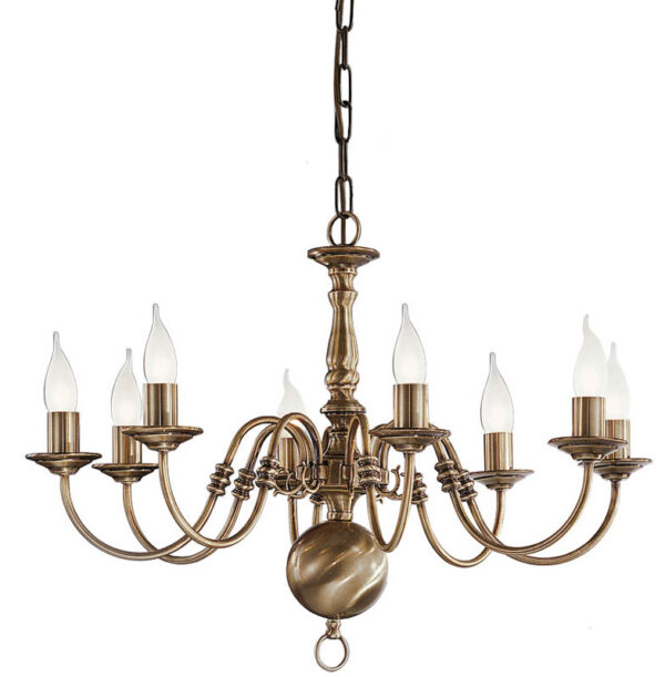 Franklite PE7938 Halle 8 light traditional chandelier in bronzed solid brass