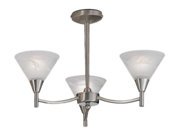 Franklite PE9833 Harmony 3 arm semi flush ceiling light in satin nickel finish with alabaster effect glass shades