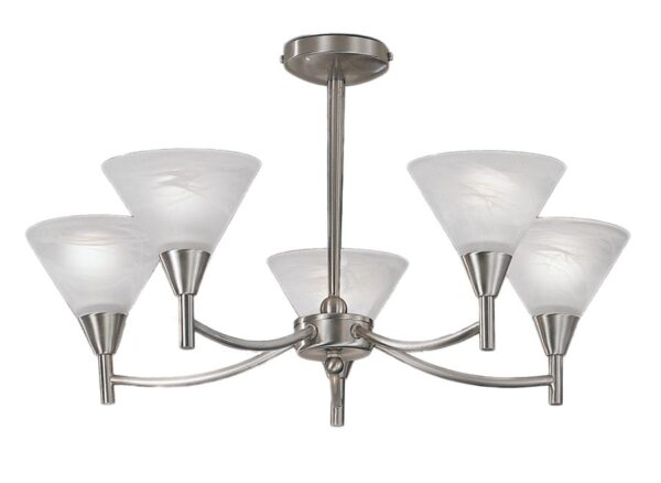 Franklite PE9835 Harmony 5 arm semi flush ceiling light in satin nickel finish with alabaster effect glass shades