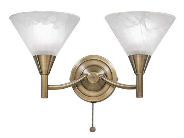 Compact 2 Arm Twin Switched Wall Light Bronze Finish Glass Shades
