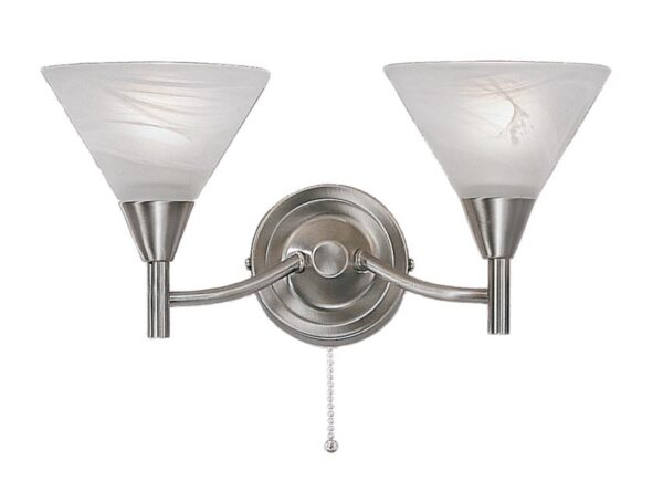 Franklite PE9832 Harmony 2 light twin switched wall light in satin nickel finish with alabaster effect glass shades