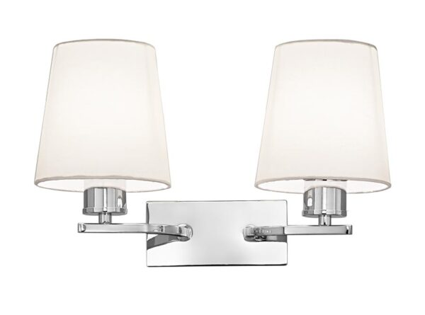 Franklite Hexx Twin Wall Light Polished Chrome Cream Shades