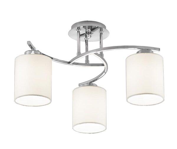 Franklite FL2080/3/1124 Hexx semi flush ceiling 3 light polished chrome cream shades