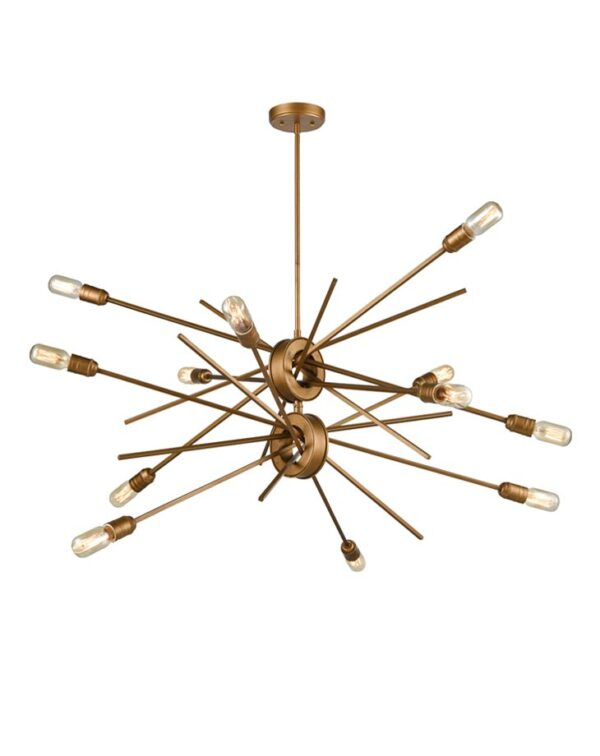 Modern Industrial Style 12 Lamp Pendant Ceiling Light Antique Gold