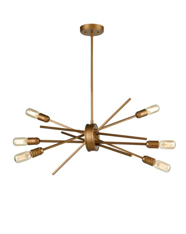 Modern Industrial Style 6 Lamp Pendant Ceiling Light Antique Gold