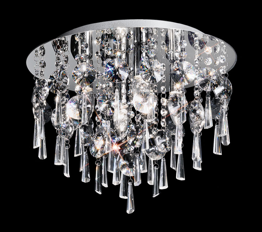 Small Contemporary 4 Lamp Flush Crystal Ceiling Light Polished Chrome