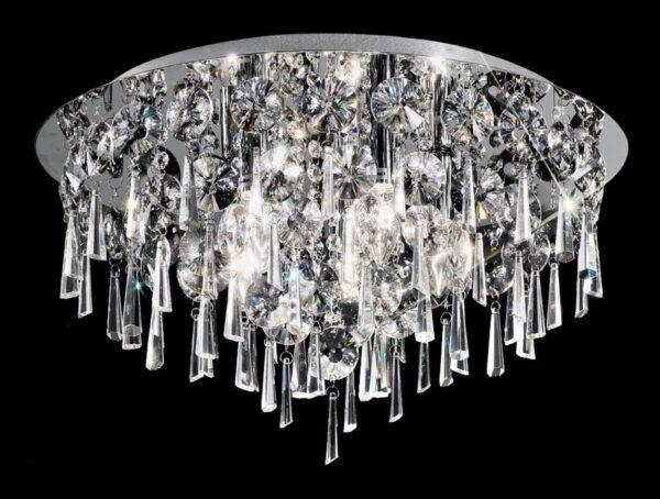 Medium Contemporary 5 Lamp Flush Crystal Ceiling Light Chrome