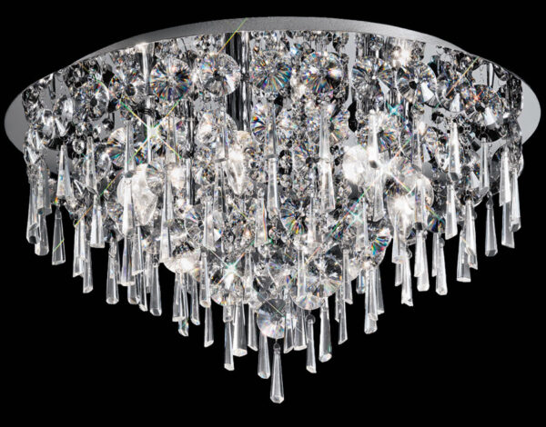 Large Contemporary 6 Lamp Flush Crystal Ceiling Light Polished Chrome