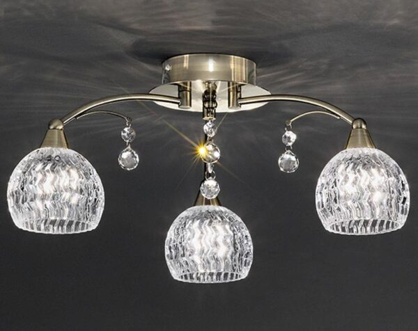 Franklite FL2296/3 Jura 3 light semi flush ceiling light in bronze with cut glass shades and crystal