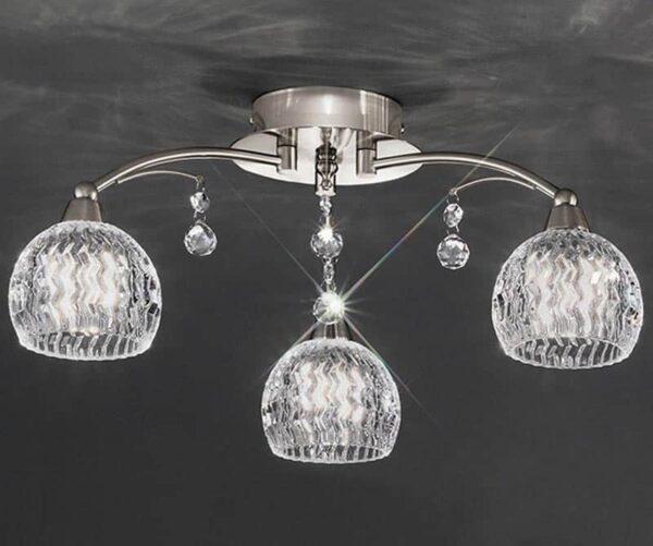 Franklite Jura 3 Light Semi Flush Ceiling Light Satin Nickel Cut Glass Crystal